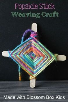 an easy weaving craft out of Popsicle sticks and colorful yarn with the supplies and directions from Blossom Box Kids.Make an easy weaving craft out of Popsicle sticks and colorful yarn with the supplies and directions from Blossom Box Kids. Popsicle Crafts, Craft Stick Crafts, Craft Ideas, Craft Sticks, Craft With Popsicle Sticks, Craft Stick Projects, Kids Craft Box, Popsicle Stick Christmas Crafts, Art Crafts