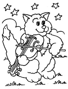 the cat and the fiddle colouring page