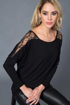 Kadın Siyah Omuzu Güpürlü Bluz