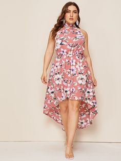 To find out about the Plus Floral Print High Low Halter Dress at SHEIN, part of our latest Plus Size Dresses ready to shop online today! Shirred Dress, Maxi Dress With Slit, Mesh Dress, Belted Dress, Tunic Dresses, Plus Size Dresses, Dresses For Sale, Plus Size Outfits, Curvy Fashion