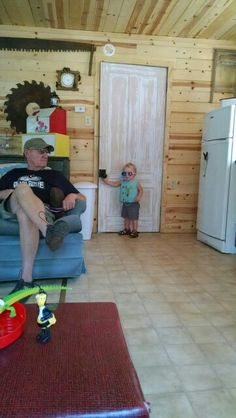 Poppa and Harrison hanging out at the lodge.