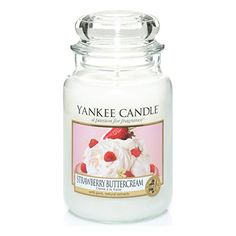 Yankee Candle Large Jar Scented Candle, Strawberry Buttercream, Up to 150 Hours Burn Time Mason Jar Candles, Scented Candles, Vanilla Candles, Homemade Candles, Yankee Candle Scents, Yankee Candles, Perfume Diesel, Strawberry Buttercream, School