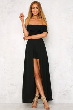 The Siren Song Maxi Romper has a divine off the shoulder neckline on an elasticated, ruffle detail band. With short, floaty sleeves and cape style back. This style also has an invisible zipper through the back. Style yours with a flame red heel!  Romper. Not lined. Cold hand wash only. Model is standard XS and is wearing XS. True to size. Stretchy fabric. Polyester.
