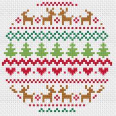Christmas Fair Isle Cross Stitch Trio – Modern Pattern – PDF Only – knitting charts Cross Stitch Christmas Ornaments, Xmas Cross Stitch, Cross Stitch Letters, Cross Stitch Borders, Modern Cross Stitch Patterns, Christmas Embroidery, Cross Stitch Designs, Cross Stitching, Cross Stitch Embroidery
