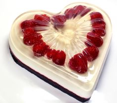 The Jello Mold Mistress of Brooklyn does it again with this very timely Chocolate Raspberry Cream Jell-o recipe in the shape of a Valentine's Day heart.