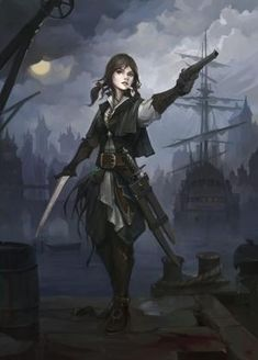 Hazardous docks by haryarti female pirate rogue thief   NOT OUR ART - Please click artwork for source   WRITING INSPIRATION for Dungeons and Dragons DND Pathfinder PFRPG Warhammer 40k Star Wars Shadowrun Call of Cthulhu and other d20 roleplaying fantasy science fiction sci-fi horror location equipment monster character game design   Create your own RPG Books w/ www.rpgbard.com by chrystal