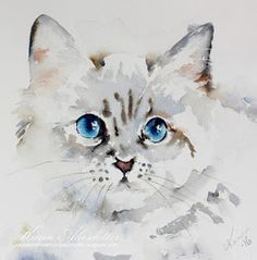 I most often use Arches watercolor paper rough and fine 140 lb (a few of paintings though are made on Fabriano Artistico fine and rou. Watercolor Paintings Of Animals, Arches Watercolor Paper, Watercolor Sketch, Animal Paintings, Cat Watercolour, Cat Drawing, Dog Art, Pet Portraits, Watercolors