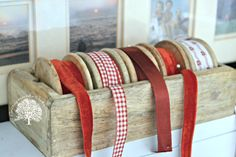 vintage wooden ribbon caddy  Saw something similar at Home Goods! Love it!!!!!