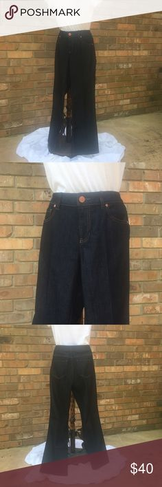 """{CAbi} boot cut jeans. Dark wash {CAbi} boot cut jeans. Size 6, style #203R, waist 32"""", front rise 9"""", rear rise 15"""", hips 17"""" across flat, inseam 30"""", boot cut 9 1/2"""" across flat. Excellent condition, only worn once! CAbi Jeans Boot Cut"""