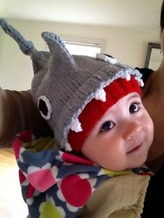 Free knitting pattern for baby Shark Hat