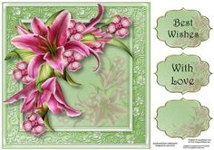Gorgeous Stargazer Lilies 8x8 Quick Topper on Craftsuprint - Add To Basket!