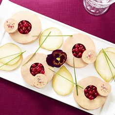 Foie gras, pear and redcurrant platter - - Food Plating, Parfait, Love Food, Mousse, Food And Drink, Dinner, Cooking, Desserts, Entryway