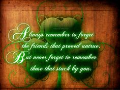 """Always remember to forget the friends that proved untrue. But never forget to remember those that stuck by you."" -LOVE this Irish quote."