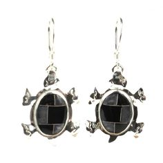 Handcrafted Turtle Earrings with Onyx Design