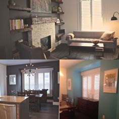 Turquoise wasn't working for sellers and wasn't going to work on the MLS. Benjamin Moore Iron Mountain was a brave and excellent replacement colour. Iron Mountain, Benjamin Moore, Staging, Corner Desk, Brave, Turquoise, Colour, Top, House
