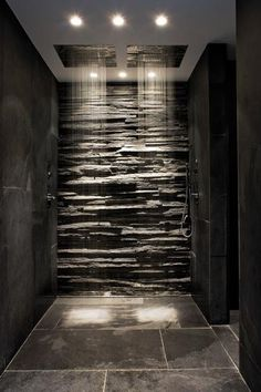 Slate walls with ceiling showers