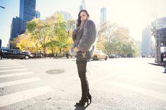 fashiontoast | 11/25/2013 thick and thin Michael Kors coat, Friend of Mine Drifter Dress, Isabel Marant belt, Stuart Weitzman Highland boots, Louis Vuitton Vivienne shoulder bag.