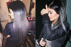 Kylie Jenner Grey Hair - Kylie Jenner Gray Ombre Extensions