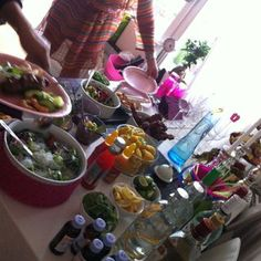 Thailand; buffé with thaifood, buckets & lipovitan.  Party for 15 people