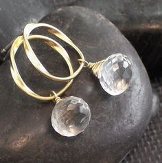 Rock Crystal Gemstone Gold Circle Sterling Silver by ZionShore