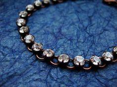 Rhinestone Bracelet  Clear Bright Swarovski Crystals by mdmButiik