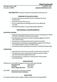 Inventory Manager Resume Basic Resume Template Word  Template  Pinterest