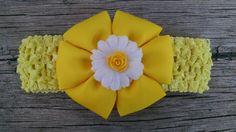 Rose Headband Baby Girl Headband Yellow by GloriaMillerCreation