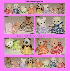Sylvanian Families Callico Critters Grandmasoriginals - Clothing Boutique - 7 New handmade clothes for Babies Twins Triplets Kindergarten - scale miniaturist Twin Outfits, Family Outfits, New Outfits, Sewing Doll Clothes, Sewing Dolls, Vbs Crafts, Felt Crafts, Bat Pattern, Sylvanian Families