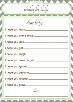 Printable Wishes for Baby Baby Shower Activity