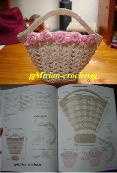 cute crochet basket w/ roses Crochet Potholders, Crochet Motifs, Crochet Purses, Crochet Chart, Crochet Patterns, Crochet Baskets, Applique Patterns, Crochet Bowl, Love Crochet