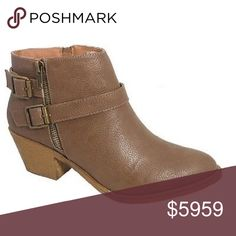 Brown Buckle Booties Booties are the go-to this season! Get these low, block heel booties to wear with all your jeans, dresses, and skirts. These booties have an easy on side zip and buckles wrapped around the ankle. Ships 10/19. The NEW Boutique Shoes Ankle Boots & Booties