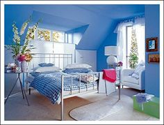 Decorating Bedrooms on a Budget . I've got to find out how to use this color blue. I love it but i dont want it on my walls.
