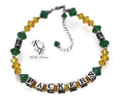 Beautiful Swarovski crystal PACKERS bracelet. Choose from Pewter or .925 sterling silver letters. #football #sportsjewelry #packers