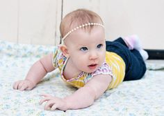 Pearl Trim Headband - Ivory, Pink/Peach, Black. Flat-back Pearls
