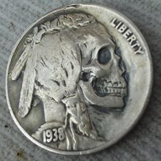 """The hobo nickel is a sculptural art form involving the creative modification of small-denomination coins, essentially resulting in miniature bas reliefs. The nickel, because of its size, thickness,. Memento Mori, Crane, Post Mortem, Totenkopf Tattoos, Hobo Nickel, Coin Art, Indian Head, Indian Skull, Arte Horror"