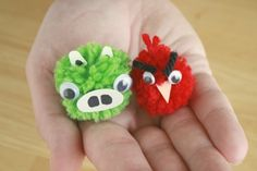 angry bird pom pom crafts for kids to make at the party...