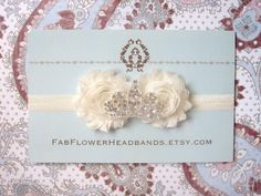 Cream Shabby Flower  Tiara Headband  Ivory by fabflowerheadbands