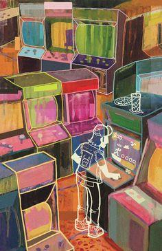 Arcade Art Print by Devyn Park - X-Small Arcade Room, 8 Bit Art, Retro Arcade, Poster Prints, Art Prints, Room Paint, Creative Inspiration, Park, Abstract