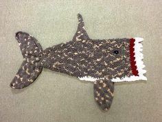 Multi Colored Grey Crochet Killer Shark Blanket Sizes Preschool Child and Adult Bulky Shark Blanket