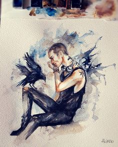 #ronanlynch & #chainsaw #theravencycle #watercolor