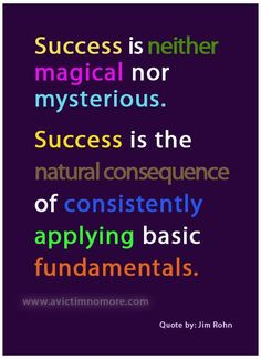 Success is neither magical nor mysterious. Success is the natural consequence of consistently applying basic fundamentals. ~Jim Rohn