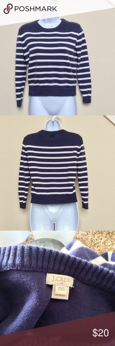 J.Crew Navy and White Striped Pullover Sweater Navy pullover sweater with white horizontal stripes, size XXS from J.Crew.  Sweater is in good used condition.  100% cotton. J. Crew Sweaters Crew & Scoop Necks