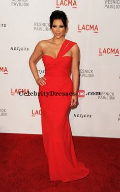 One Shoulder Red Chiffon Long Formal Evening Gown Celebrity Dress