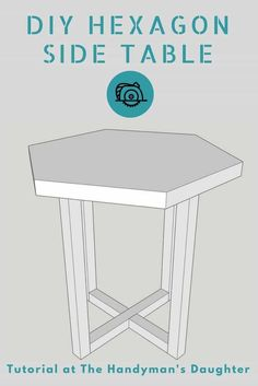Create this modern hexagon side table with just a few boards! Get the free woodw… Create this modern hexagon side table with just a few boards! Get the free woodworking plans at The Handyman's Daughter! Antique Woodworking Tools, Woodworking Projects For Kids, Woodworking Joints, Woodworking Patterns, Woodworking Projects Plans, Woodworking Shop, Woodworking Classes, Woodworking Furniture, Woodworking Supplies