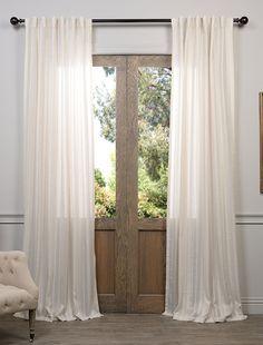 Cayman Stone Striped Linen Sheer Curtain - SKU: SHCH-HC66046 at https://halfpricedrapes.com