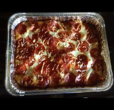 Baked ziti:  Cook ziti (noodles). Mix ziti in pan w marinara sauce. Layer top w/ lots of mozzarella cheese . Top w/ pepperoni  Sprinkle mozzarella on too for looks. Put in oven on 350 for 10min or until top looks done.