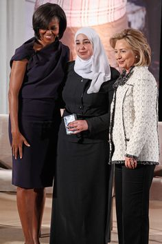 Obama & Clinton embracing Islam. (Under Islam WOMEN ARE CONSIDERED PROPERTY! If they are thought of adultery they can be STONED TO DEATH. Islam is not a religion for women.)
