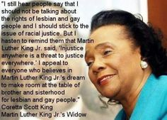 -Coretta Scott King #BeingGayBecomingGray #equality #quotes https://www.facebook.com/pages/Being-Gay-Becoming-Gray-With-Passion-Beauty-and-a-Sense-of-Adventure/465065810215299