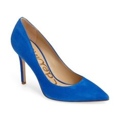 Women's Sam Edelman Hazel Pointy Toe Pump (6,630 MKD) ❤ liked on Polyvore featuring shoes, pumps, bright blue suede, stilettos shoes, suede shoes, suede pointy toe pumps, pointed toe shoes and pointy toe stiletto pumps