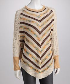 Take a look at this Beige Chevron Crocheted Sweater by High Secret on #zulily today!